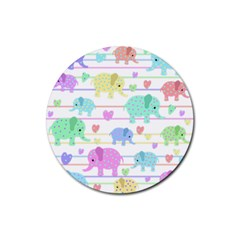 Elephant pastel pattern Rubber Round Coaster (4 pack)