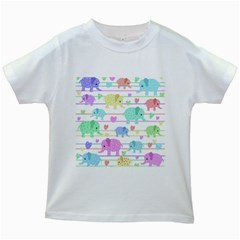 Elephant pastel pattern Kids White T-Shirts