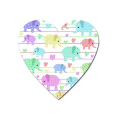 Elephant pastel pattern Heart Magnet