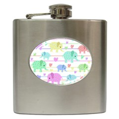 Elephant pastel pattern Hip Flask (6 oz)