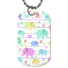 Elephant pastel pattern Dog Tag (Two Sides)
