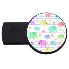 Elephant pastel pattern USB Flash Drive Round (1 GB)