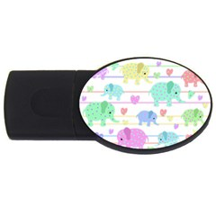 Elephant pastel pattern USB Flash Drive Oval (1 GB)