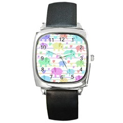 Elephant pastel pattern Square Metal Watch