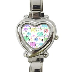 Elephant pastel pattern Heart Italian Charm Watch