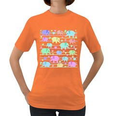 Elephant pastel pattern Women s Dark T-Shirt