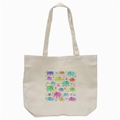 Elephant pastel pattern Tote Bag (Cream)