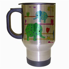 Elephant pastel pattern Travel Mug (Silver Gray)