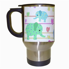 Elephant pastel pattern Travel Mugs (White)