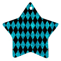 Diamond1 Black Marble & Turquoise Marble Star Ornament (two Sides)