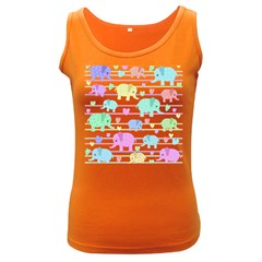 Elephant pastel pattern Women s Dark Tank Top