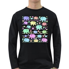Elephant pastel pattern Long Sleeve Dark T-Shirts