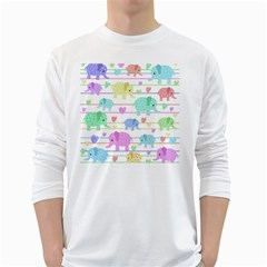 Elephant pastel pattern White Long Sleeve T-Shirts