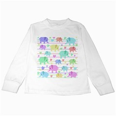 Elephant pastel pattern Kids Long Sleeve T-Shirts