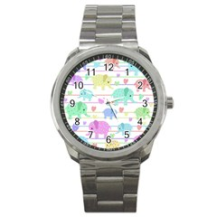 Elephant pastel pattern Sport Metal Watch