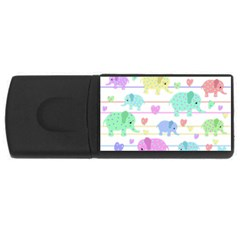 Elephant pastel pattern USB Flash Drive Rectangular (4 GB)