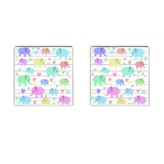 Elephant pastel pattern Cufflinks (Square)