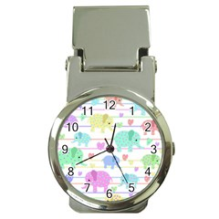 Elephant pastel pattern Money Clip Watches