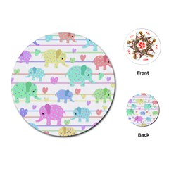 Elephant pastel pattern Playing Cards (Round)