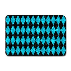 Diamond1 Black Marble & Turquoise Marble Small Doormat