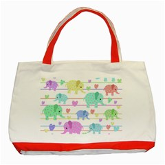 Elephant pastel pattern Classic Tote Bag (Red)