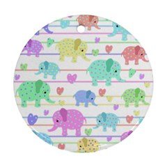 Elephant pastel pattern Round Ornament (Two Sides)