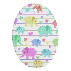 Elephant pastel pattern Oval Ornament (Two Sides)