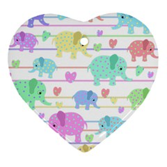 Elephant pastel pattern Heart Ornament (Two Sides)