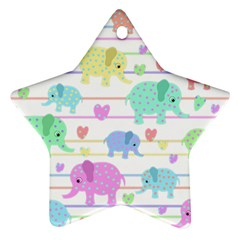 Elephant pastel pattern Star Ornament (Two Sides)