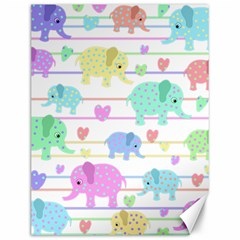 Elephant pastel pattern Canvas 12  x 16