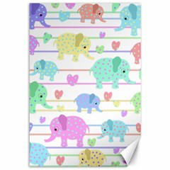 Elephant pastel pattern Canvas 12  x 18