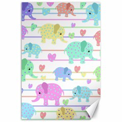 Elephant pastel pattern Canvas 24  x 36