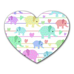 Elephant pastel pattern Heart Mousepads