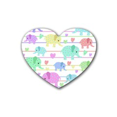 Elephant pastel pattern Rubber Coaster (Heart)