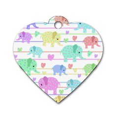 Elephant pastel pattern Dog Tag Heart (One Side)
