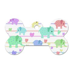 Elephant pastel pattern Dog Tag Bone (One Side)