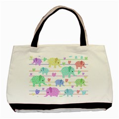 Elephant pastel pattern Basic Tote Bag (Two Sides)