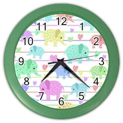 Elephant pastel pattern Color Wall Clocks