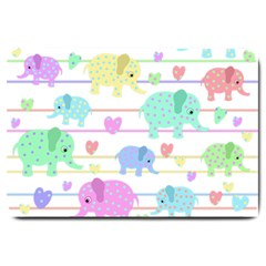 Elephant pastel pattern Large Doormat