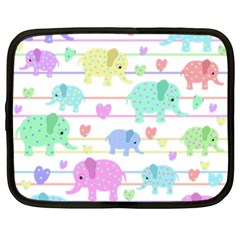 Elephant pastel pattern Netbook Case (Large)