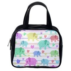 Elephant pastel pattern Classic Handbags (One Side)