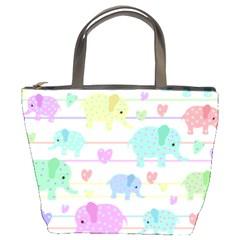 Elephant pastel pattern Bucket Bags