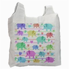 Elephant pastel pattern Recycle Bag (Two Side)
