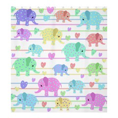 Elephant pastel pattern Shower Curtain 66  x 72  (Large)
