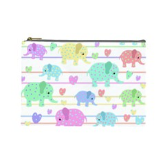 Elephant pastel pattern Cosmetic Bag (Large)