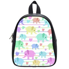 Elephant pastel pattern School Bags (Small)
