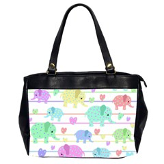 Elephant pastel pattern Office Handbags (2 Sides)