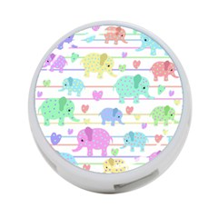 Elephant pastel pattern 4-Port USB Hub (Two Sides)