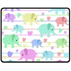 Elephant pastel pattern Fleece Blanket (Medium)