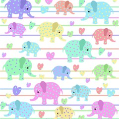 Elephant pastel pattern Magic Photo Cubes
